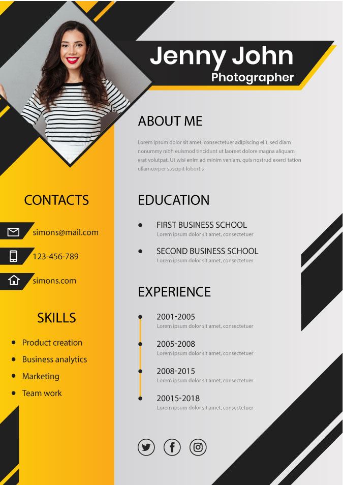 resume sample to apply for photography job